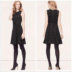 LOFT Black Grey Plaid Leather Trim Flare Dress 00